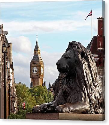 Trafalgar Square Lion With Big Ben Canvas Print by Gill Billington