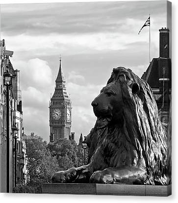 Trafalgar Square Lion With Big Ben In Black And White Canvas Print by Gill Billington