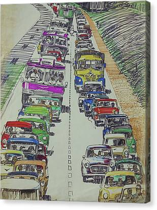 Canvas Print featuring the drawing Traffic 1960s. by Mike Jeffries