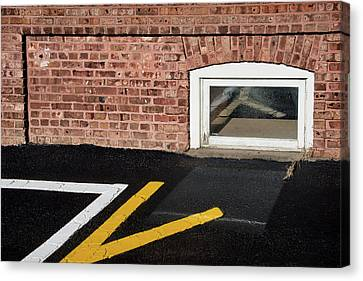Canvas Print featuring the photograph Traffic Line Conversion In Window by Gary Slawsky