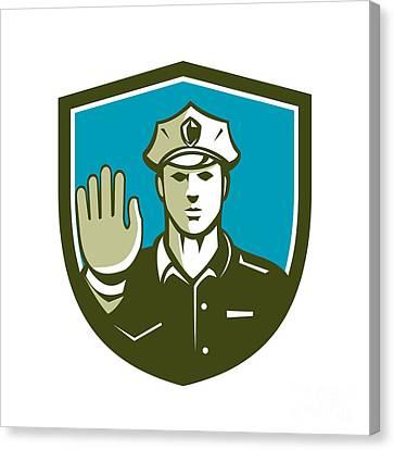 Traffic Policeman Hand Stop Sign Shield Retro Canvas Print