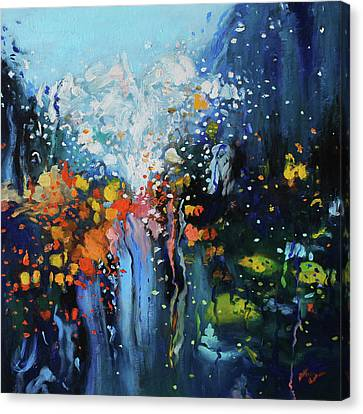 Canvas Print featuring the painting Traffic Seen Through A Rainy Windshield by Dan Haraga