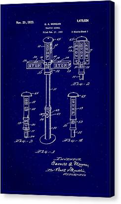 Traffic Signal Patent Drawing 1b Canvas Print by Brian Reaves
