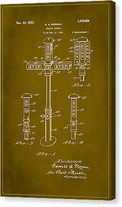 Traffic Signal Patent Drawing 1d Canvas Print by Brian Reaves