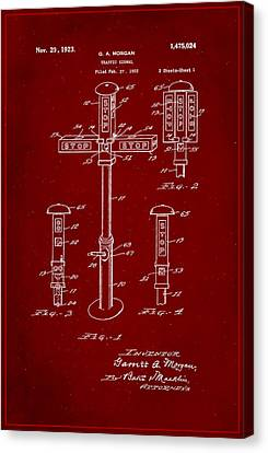 Traffic Signal Patent Drawing 1g Canvas Print by Brian Reaves