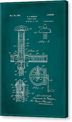 Traffic Signal Patent Drawing 2b Canvas Print by Brian Reaves