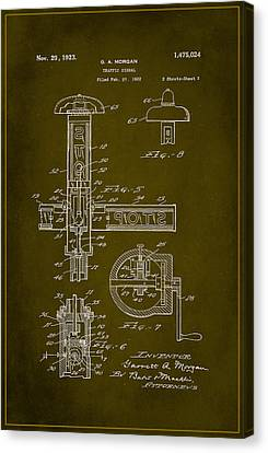 Traffic Signal Patent Drawing 2d Canvas Print by Brian Reaves