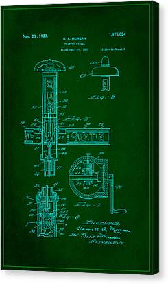 Traffic Signal Patent Drawing 2f Canvas Print by Brian Reaves