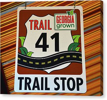Stop Sign Canvas Print - Trail 41 Stop by David Lee Thompson