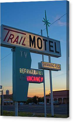 Canvas Print featuring the photograph Trail Motel At Sunset by Matthew Bamberg