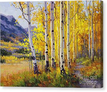 Trail Through Golden Aspen  Canvas Print by Gary Kim