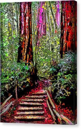 Canvas Print featuring the digital art Trail Through The Redwoods - Tamalpais California by Joel Bruce Wallach