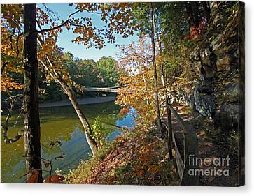 Trail To The Bridge Canvas Print by Steve  Gass