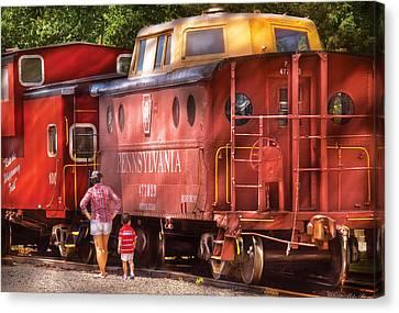 Train - Car - Pennsylvania Northern Region Caboose 477823 Canvas Print by Mike Savad