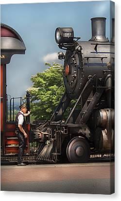 Train - Engine - Alllll Aboard Canvas Print by Mike Savad