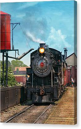 Train - Engine - Strasburg Number 9 Canvas Print by Mike Savad