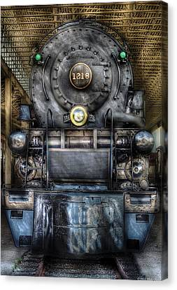 Train - Engine -1218 - Norfolk Western Class A - 1218 - Front View Canvas Print by Mike Savad