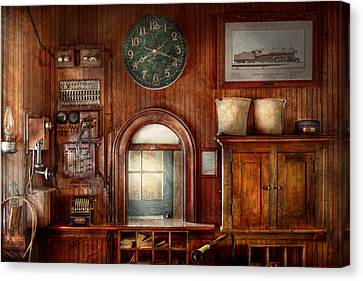 Train - Office - The Ticket Takers Window Canvas Print by Mike Savad