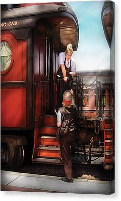 Train - Yard - Receiving A Telegram  Canvas Print by Mike Savad