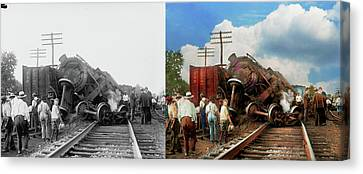 Canvas Print featuring the photograph Train - Accident - Butting Heads 1922 - Side By Side by Mike Savad