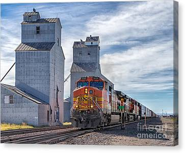 Train And Grain Elevator Canvas Print by Jerry Fornarotto