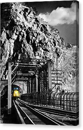 Train At Harpers Ferry Canvas Print by Williams-Cairns Photography LLC