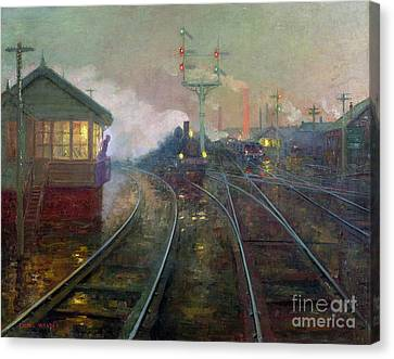 Train At Night Canvas Print by Lionel Walden
