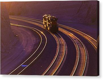 Train Tracks Canvas Print - Train At Sunset by Garry Gay