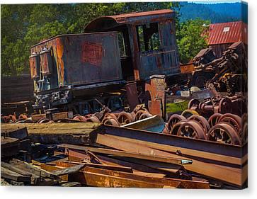 Train Bone Yard Canvas Print by Garry Gay