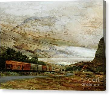 Train Cars On A Bender Canvas Print by Robert Ball