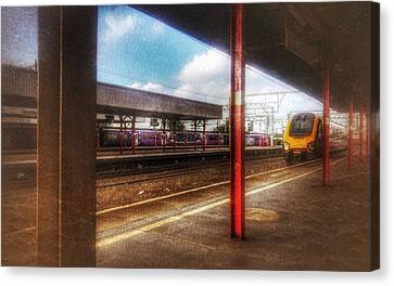 Canvas Print featuring the photograph Train Coming In by Isabella F Abbie Shores FRSA
