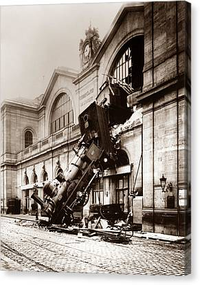 Vintage Trains Canvas Print - Train Derailment At Montparnasse Station - 1895 by War Is Hell Store