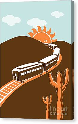 Train Desert Cactus Canvas Print by Aloysius Patrimonio
