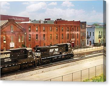Train - Engine -  Now Arriving In Roanoke Virginia Canvas Print by Mike Savad