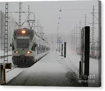 Train In Helsinki Canvas Print
