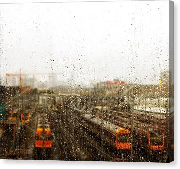 Train In The Rain Canvas Print