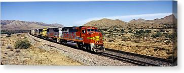 Train On A Railroad Track, Santa Fe Canvas Print by Panoramic Images