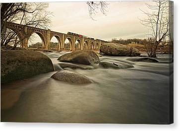 Train Over James River Canvas Print by Tom Lynch Photography LLC