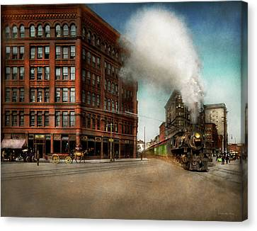 Canvas Print featuring the photograph Train - Respect The Train 1905 by Mike Savad