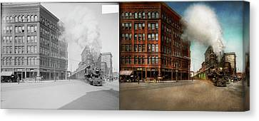 Canvas Print featuring the photograph Train - Respect The Train 1905 - Side By Side by Mike Savad