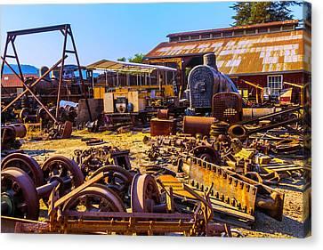 Train Scrap Yard Felton California Canvas Print by Garry Gay