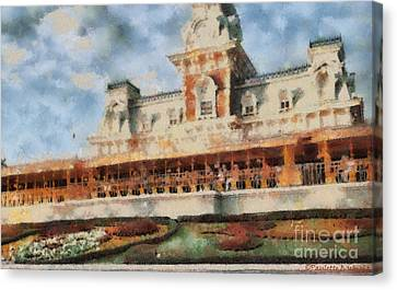 Train Station At Magic Kingdom Canvas Print by Paulette B Wright