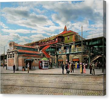 Train Station - Atlantic Ave Control House 1910 Canvas Print by Mike Savad