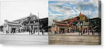 Train Station - Atlantic Ave Control House 1910 - Side By Side Canvas Print