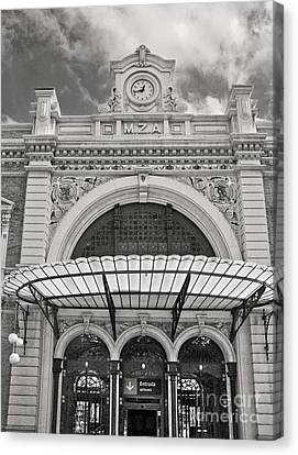 Train Station Cartagena Spain Bw Canvas Print by Betty Doran