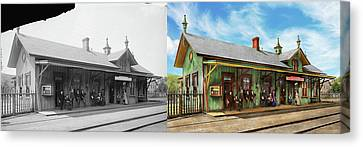 Train Station - Garrison Train Station 1880 - Side By Side Canvas Print