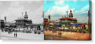 Train Station - Louisville And Nashville Railroad 1905 - Side By Canvas Print by Mike Savad