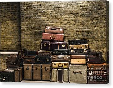 Train Station Vintage Luggage Canvas Print by Gary Keesler