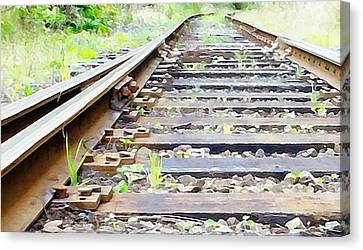Train Track Canvas Print by Kathleen Voort