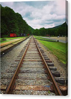 Canvas Print featuring the photograph Train Tracks by Linda Sannuti